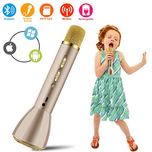 Bluetooth Karaoke Mikrofon, Drahtlos Mikrophon Kabellos Lautsprecher, Handy Karaoke Microphone für Erwachsene Kinder Aufnahme Gesang Sprache KTV Player für PC ios Android Smartphone