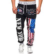 Pantalones deportivos largos de hombre | Flag Juego: Deportes Pantalones y capucha chaqueta Chándal para | 100% algodón | Alemania EM WM | Alemania & New York