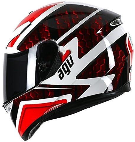 AGV K3SV Pulse DV visage complet Casque de moto–Blanc/Noir/Rouge