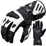 PROANTI 500305LW, Motorcycle Gloves PROANTI Leather & Textile Summer M to XXL, Black-and-White, Motorbike Gloves (L) (Automotive)