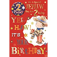 "Nephew 2nd Birthday Card & Badge - 2 Today Little Cowboy, Horse & Stars 9"" x 6"""