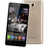 Vkworld F1 - 3G Smartphone Libre Android 5.1 Multi-Idioma (Pantalla 4.5'' IPS, MT6580M Quad Core 1.3GHz, 1G Ram, 8G Rom, Dual Sim, Smart Wake GPS WIFI) (Dorado)