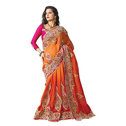 Aagaman Fashions Jacquard Lehenga Sarees (TSPL2217_Orange)