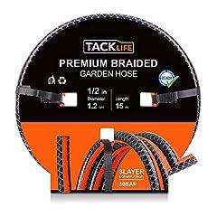 Idea Regalo - Tubo da Giardino Espansibile 15M in PVC TACKLFIE Tubo per Irrigazione Diametro 12.5mm, Spessore di Tubo 2.7mm, Pressione di Scoppio 35Bar Resistente Anti-UV GWH2B