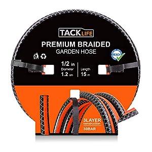 TACKLIFE Manguera Jardín, Material de PVC, Rollo de 15m (½), diámetro 12mm, 500 Horas Anti-UV, Espesor de la Manguera de…