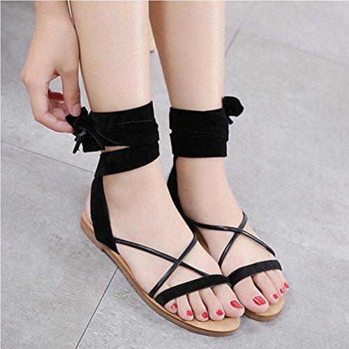 Banded Sandals Frauen flache Satin Streifen Black