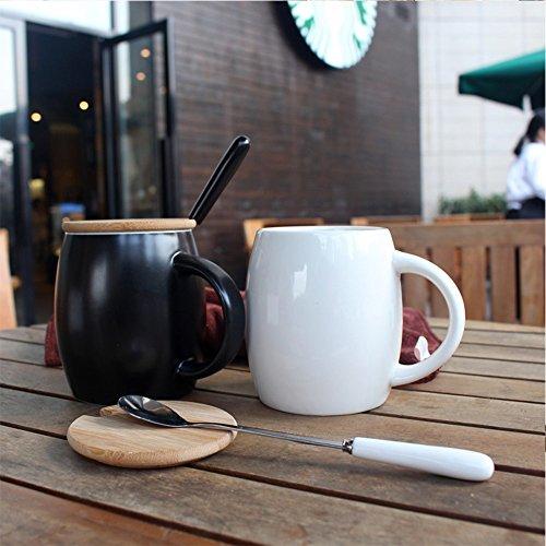 Hyl Ceramic mug avec Couverture du Simple café 450ml,White,la Couverture du Bambou