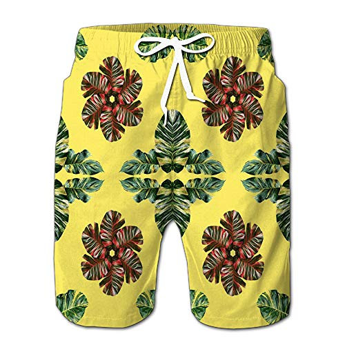 Randell Mens Slim Fit Quick Dry Short Swim Trunks Colorful Leaves Nature Concept Swimsuit Or Athletic Shorts Adults Boys M -