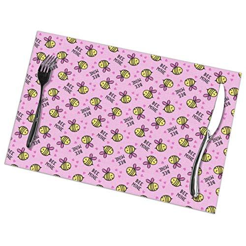 Tovagliette americana plastica,(set 6)(micro scala) bee mine - rosa - san valentino c18bs_1350, antiscivolo tovaglietta in pvc lavabile in poliestere per feste da banchetto in cucina colorate
