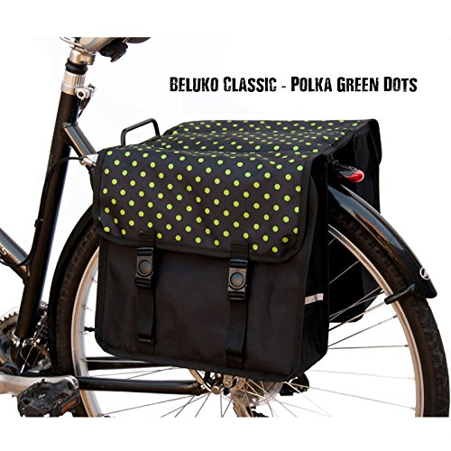 Damen Doppel-Fahrradtasche Grüne Tupfen