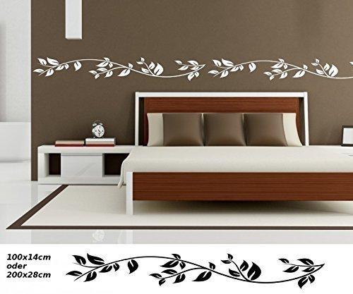 Wandtattoo selbstklebend Bordüre Baum Blätter Herbst Bäume Blumen Ranke Set Banner Wand Aufkleber Wohnzimmer 1U123, Farbe:Silbergrau glanz;Länge x Breite:100cm x 14cm