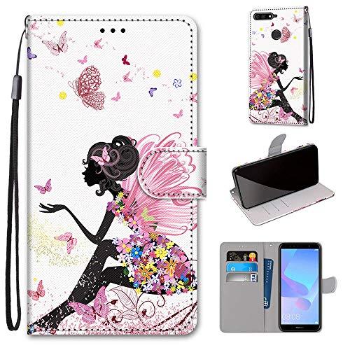 Miagon Flip PU Leder Schutzhülle für Huawei Y7 2018,Bunt Muster Hülle Brieftasche Case Cover Ständer mit Kartenfächer Trageschlaufe,Schmetterling Mädchen
