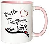 Mister Merchandise Kaffeebecher Tasse Beste Trauzeugin der Welt Heirat Hochzeit Verlobung Freundin beste Danke Teetasse Becher Weiß-Rosa
