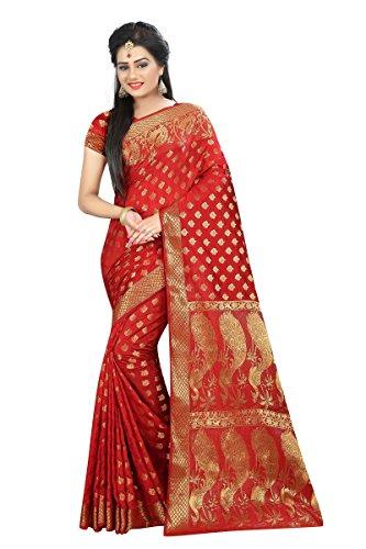 Hinayat Fashion Silk Saree (Nht01Sri473_Red_Free Size)