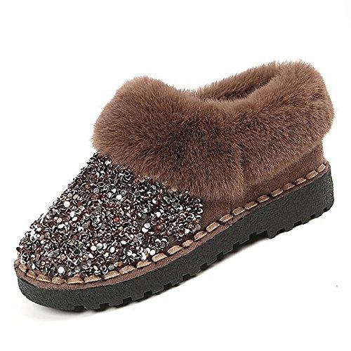4f75c17f03a Hsxz Femmes Chaussures Nubuck Pu Daim Cuir Automne Hiver Confort Bottes De  Neige Talon Plat Bottes