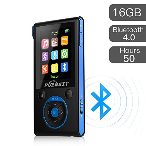 16GB MP3 Player,HiFi Bluetooth MP3 Player 50 Hours Playback Portable Music Player Lossless Sound Media Player By Puersit (Black+Blue)