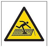 vsafety 61004af-r Warnung Fragile Dach Logo Zeichen, starrer Kunststoff, eckig, 100mm x 100mm, schwarz/gelb