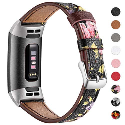 HUMENN Armband für Fitbit Charge 3 Leder Armbänder, Prämie Leder Einstellbare Ersatzband für Fitbit Charge 3, Fitness Zubehör für Männer Frauen, Groß Blumen Schwarz/Rosa
