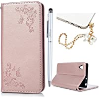 Xperia XA1 Case MAXFE.CO Sony Xperia XA1 Case Butterfly & Flower Embossed PU Leather Case Magnetic Flip Case Cover for Sony XA1 with Card Holder & One Touch Pen & One Dust Plug