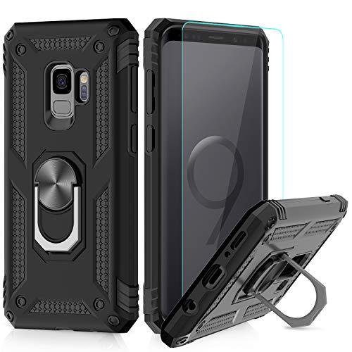 27a18623eb8 LeYi Funda Samsung Galaxy S9 Armor Carcasa con 360 Anillo iman Soporte Hard  PC y Silicona