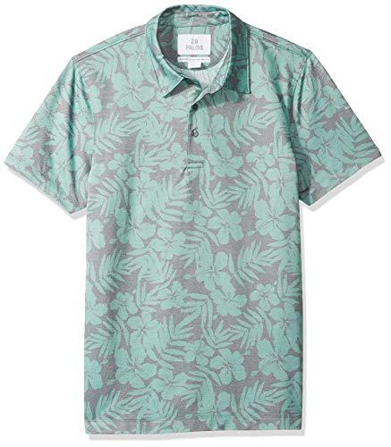 28 Palms Standard-Fit Hawaiian Performance Pique polo-shirts, Green Floral, XX-Large (Polo-shirt Hawaiian)
