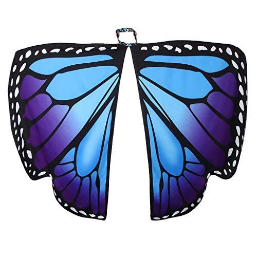 Schmetterling Kostüm Lila - F Fityle Damen Schmetterling Kostüm Faschingkostüm Schmetterlingsflügel Erwachsene Poncho Umhang - Blau Lila