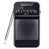 ZesGood Portable Radio AM FM Battery Operated Pocket Radio Easy Tuning Power Saving