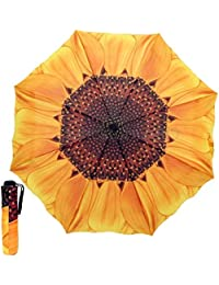 Girasol 3 Paraguas Plegable Durable De La Mujer contra Los Rayos UV Paraguas Grande De Protección Solar A Prueba De Viento Señora Femenina Lluvia UV Sombrilla