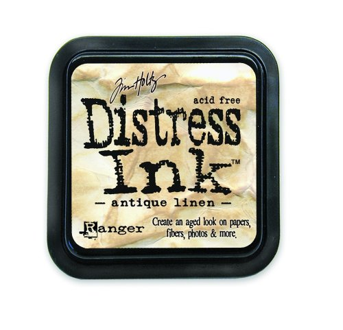 Ranger 18780601 Tim Holtz Distress Ink Pad, Antique Linen, 7.5 x 7.5 x 2 cm - Distress Papier