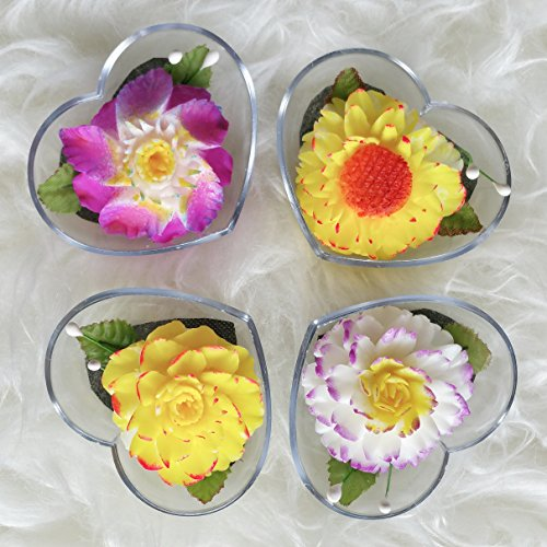 Sunrise Flower Set of 4 Hand Carved Decorative Soaps with Jasmine Aroma Essential Oil, Handmade Flower Soap Carving by Thai Artisan. Unique Party and Wedding Favors