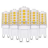 Albrillo 5er Pack 3.5W G9 LED Lampe 350 Lumen, 3000k warmweiß und Kein Flackern G9 LED Leuchtmittel Ersatz 40W G9 Halog