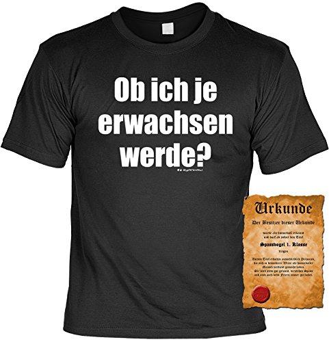Witziges Spaß-Shirt + gratis Fun-Urkunde: Ob ich je erwachsen werde? Schwarz