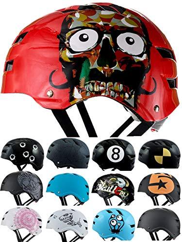 SkullCap® BMX Helm - Skaterhelm - Fahrradhelm - Herren Damen Jungs & Kinderhelm, rot, Gr. L (58-61 cm), Red Ocean