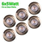 6x LED Einbaustrahler Ultraflach 5 Watt Bronze schwenkbar 230V Rund warmweiß Deckenstrahler Spot Deckenspot