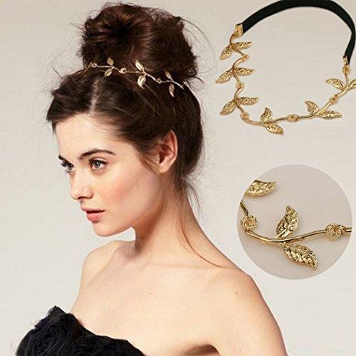 Jovono Kopfkette, Haarschmuck im Boho-Stil, Gold, Kopfschmuck, Blatt-Kette, Stirnband für Damen (Gold ägyptischer Kopfschmuck)