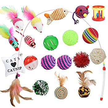 FUNPET Jouets pour Chat Kitty Jouets Kitten Toys, Ensemble de 20 pièces, Un Pack de variétés de Jouets interactifs pour Souris et Chats avec Plumes