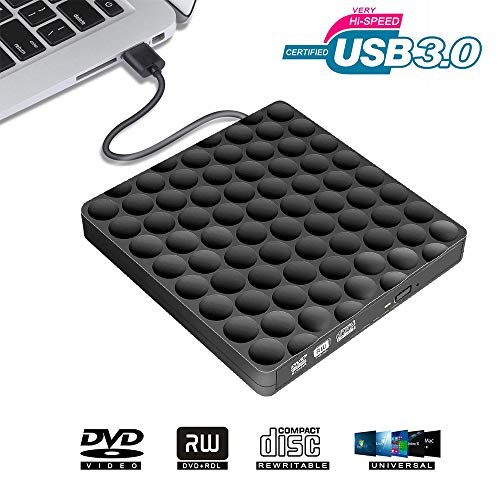 Externe DVD Laufwerk USB 3.0 Brenner, CD DVD RW Row Writer Player Tragbar für PC MacBook Mac OS Windows 10 7 8 XP (Transfer-filme Auf Dvd)