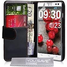 Yousave Accessories Cover Per LG Optimus L9 II Nero Custodia Portafoglio in PU Pelle
