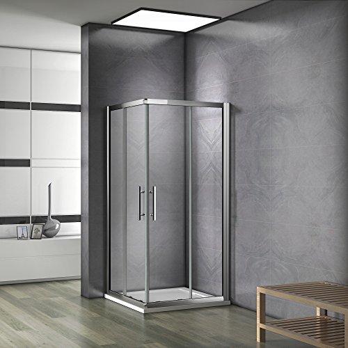 100x70x185 cm Cabine de douche Porte coulissante Paroi de douche accès d'angle verre sécurit