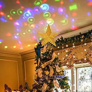 PHITRIC Adorno Estrella de Navidad 3D Luminosa Proyector Luz LED Decoracion Arbol de Navidad Cinco Puntas Estrella Ornamento