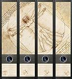 4er Set Ordnerrücken für breite Ordner Leonardo da Vinci Aufkleber Etiketten Deko 071