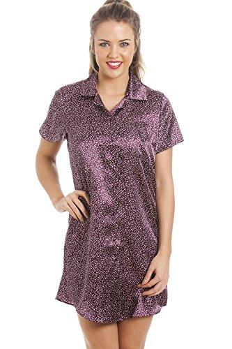 Camicia da notte in raso con stelline bianche - viola Viola