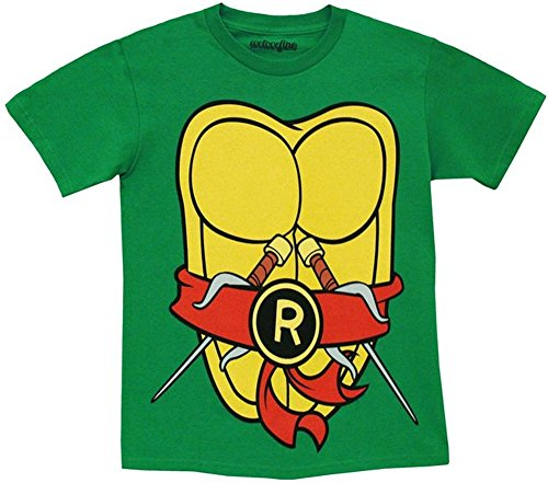 TMNT Teenage Mutant Ninja Turtles Raphael Kostüm Grün T-shirt with Rot Eye Mask (X-Large) (Ninja Turtles Michelangelo Kostüm)