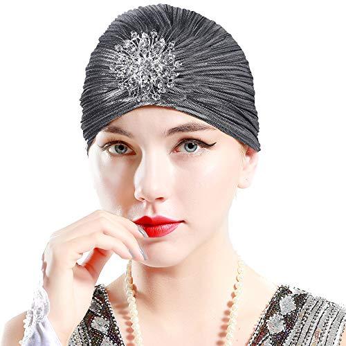 ArtiDeco Damen Turban Hut mit Kristall 1920s Retro Kopf Accessoires (Silber)