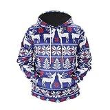 YiLianDa Herren 3D Druck Kapuzenpullover Sweatshirt Hoodie Weihnachten Pullover