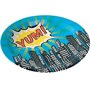 Ginger Ray Paper Plates - Pop Art Superhero Party