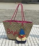 BAGEHUA den Brief Stickerei gewebt Strandtasche Stroh Beutel Pauschalreise Haar Ball Bag D