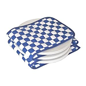 Hot Ideas Electric Plate Warmer - 12 Plate Large Blue and White Check (UK PLUG)