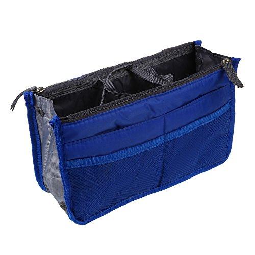 TOOGOO(R) Bolso de Organizador De Moda con Dual cremallera para Mp3 Telefono Cosmeticos Libro Bolso De Nylon - Azul oscuro