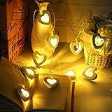 LED Herz Lichterkette Fairy String Licht, Skitic 2.2M 20er Partylichterkette Weihnachtslichterketten Deko für Innen Balkon Party Hochzeit Weihnachten Batterie-betrieben - Warmweiß